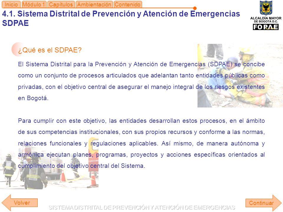 4.1. Sistema Distrital de Prevención y Atención de Emergencias SDPAE