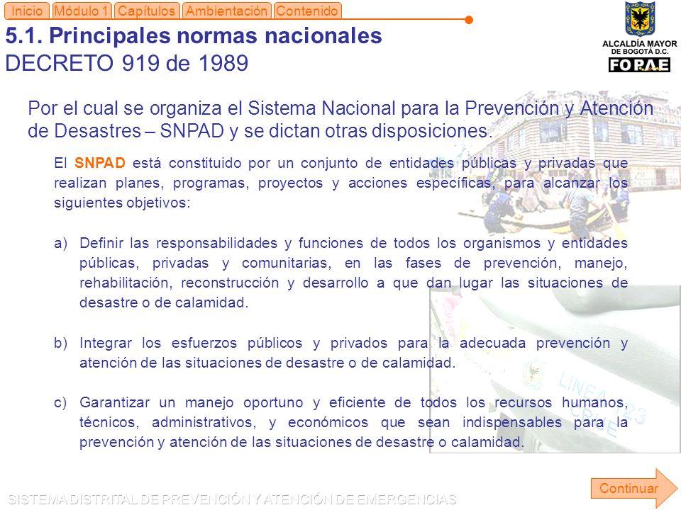 5.1. Principales normas nacionales DECRETO 919 de 1989