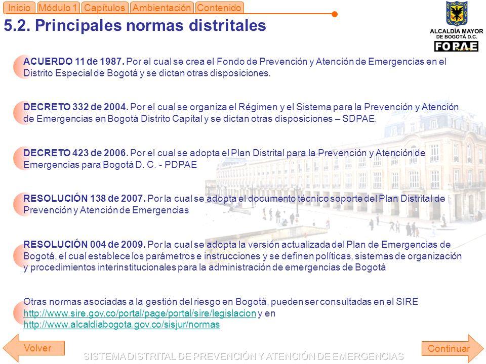 5.2. Principales normas distritales