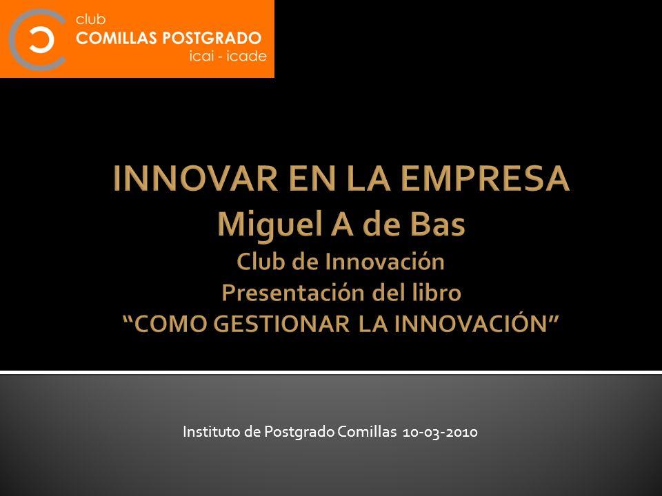 INNOVAR EN LA EMPRESA Miguel A de Bas Club de Innovación Presentación del libro COMO GESTIONAR LA INNOVACIÓN