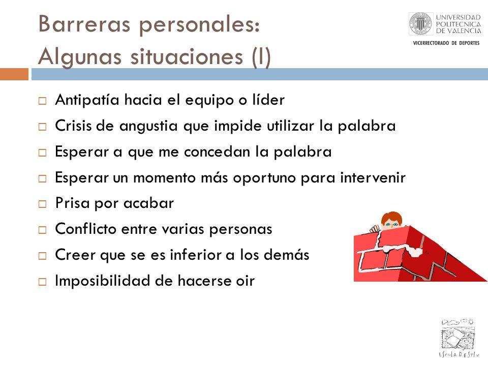 Barreras personales: Algunas situaciones (I)