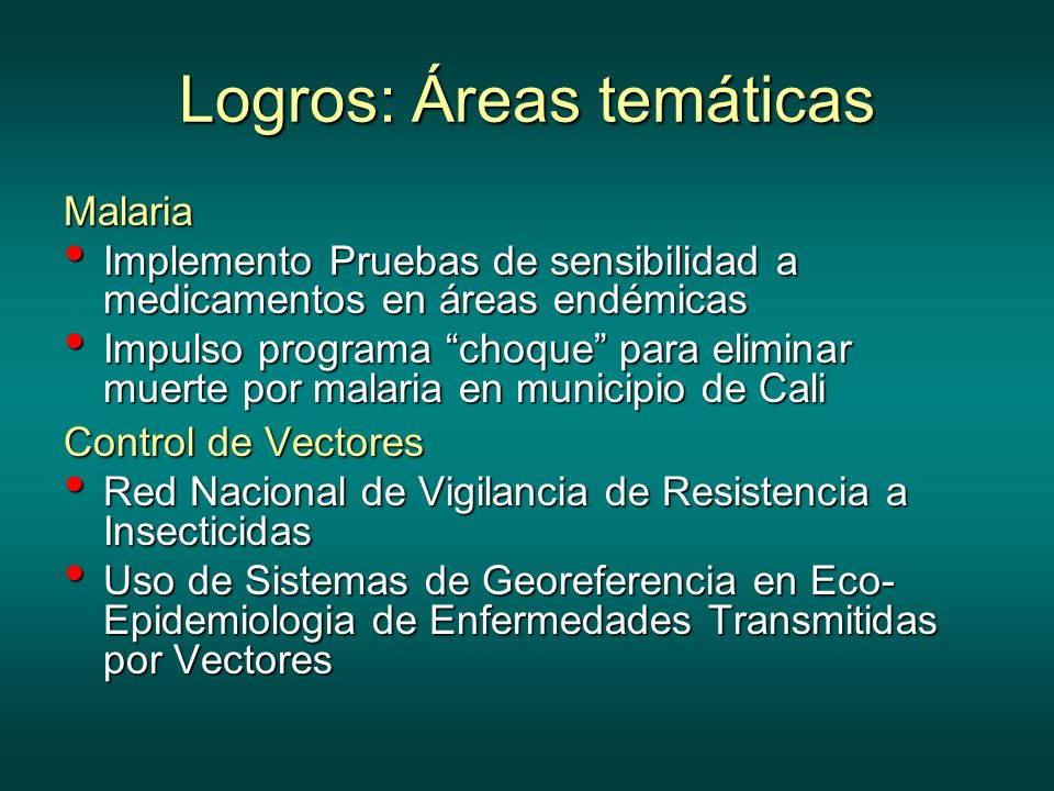 Logros: Áreas temáticas