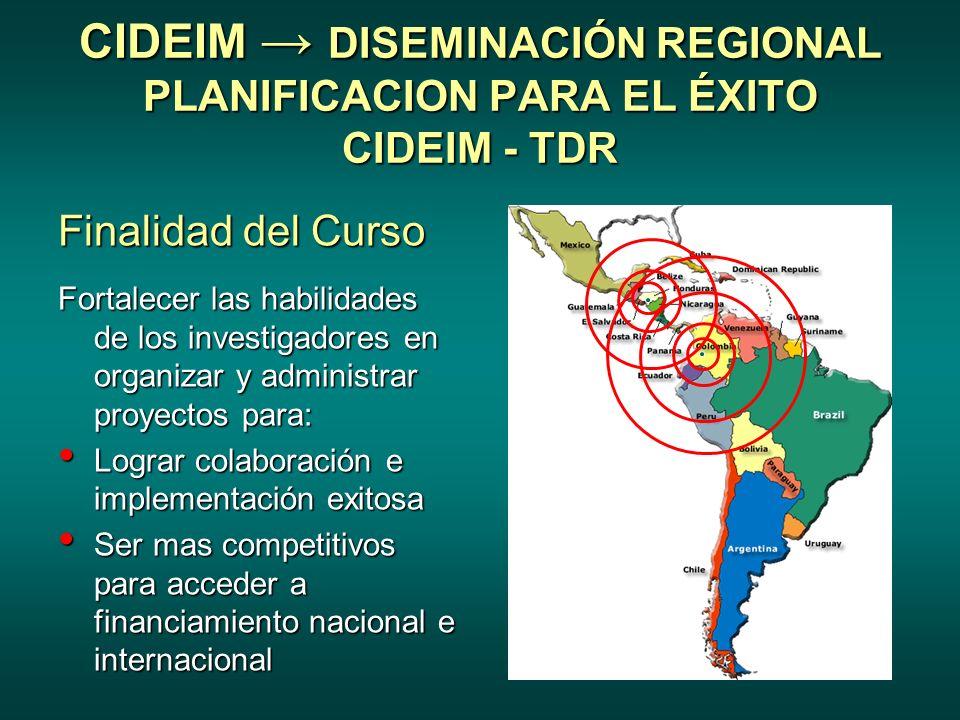 CIDEIM → DISEMINACIÓN REGIONAL PLANIFICACION PARA EL ÉXITO CIDEIM - TDR