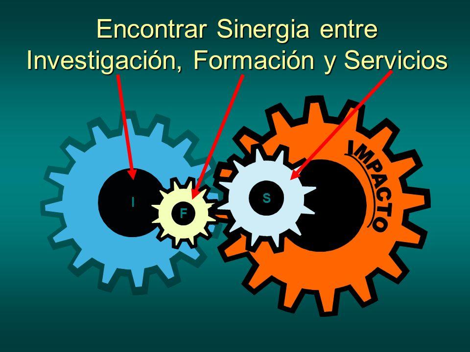 Encontrar Sinergia entre Investigación, Formación y Servicios