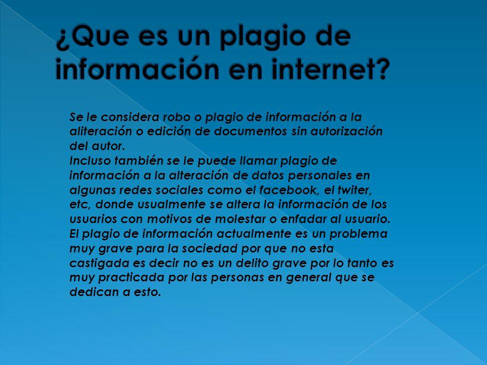 ¿Que es un plagio de información en internet