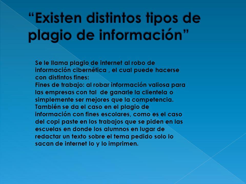 Existen distintos tipos de plagio de información