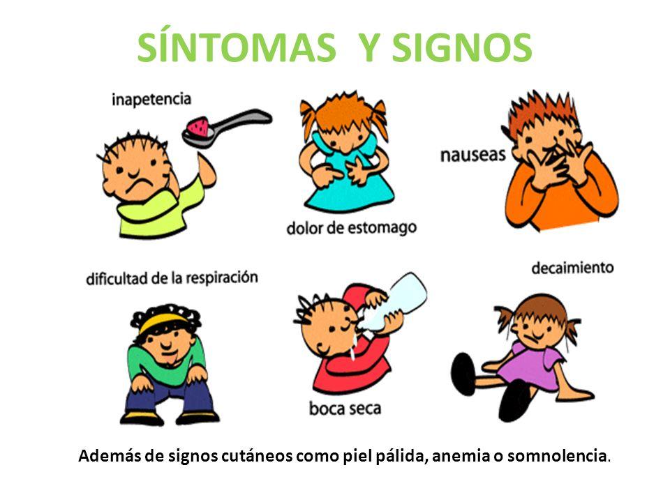 SÍNTOMAS Y SIGNOS Además de signos cutáneos como piel pálida, anemia o somnolencia.