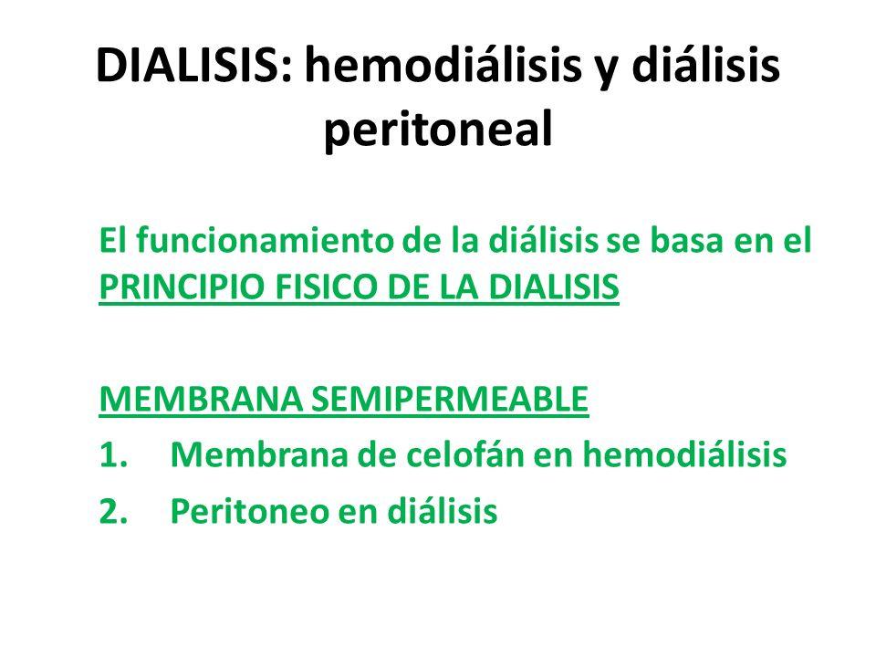 DIALISIS: hemodiálisis y diálisis peritoneal