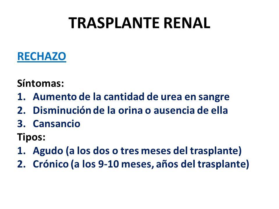 TRASPLANTE RENAL RECHAZO Síntomas: