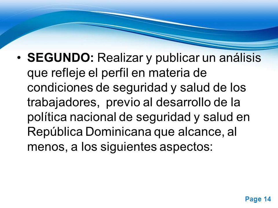 SEGUNDO: Realizar y publicar un análisis que refleje el perfil en materia de condiciones de seguridad y salud de los trabajadores, previo al desarrollo de la política nacional de seguridad y salud en República Dominicana que alcance, al menos, a los siguientes aspectos: