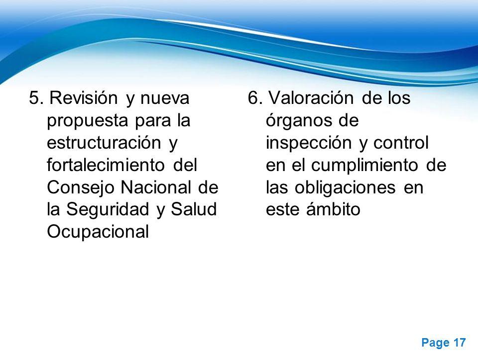 5. Revisión y nueva propuesta para la estructuración y fortalecimiento del Consejo Nacional de la Seguridad y Salud Ocupacional