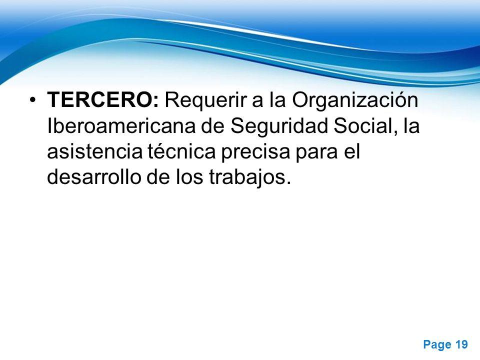 TERCERO: Requerir a la Organización Iberoamericana de Seguridad Social, la asistencia técnica precisa para el desarrollo de los trabajos.
