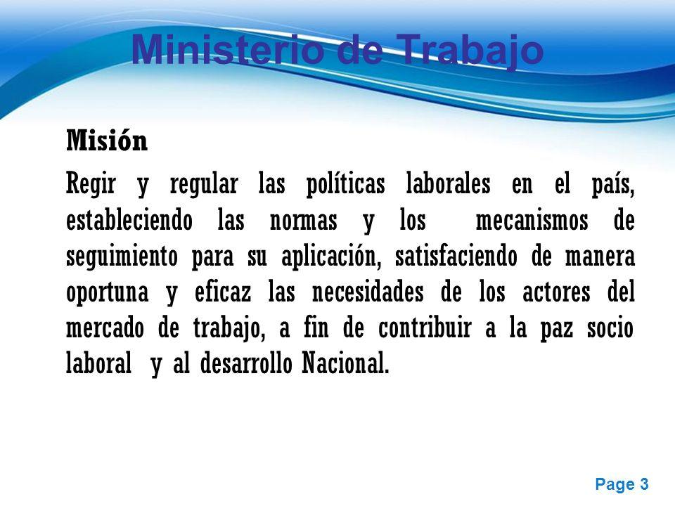 Ministerio de Trabajo Misión