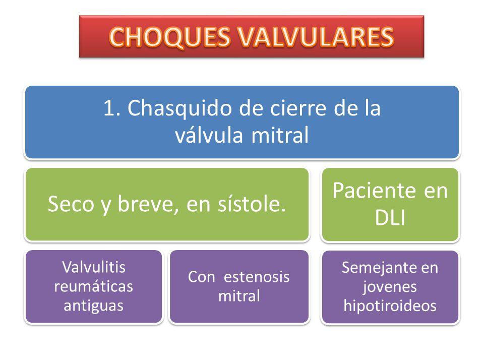 CHOQUES VALVULARES 1. Chasquido de cierre de la válvula mitral