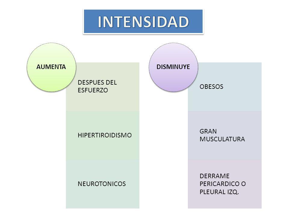 INTENSIDAD DESPUES DEL ESFUERZO HIPERTIROIDISMO NEUROTONICOS OBESOS
