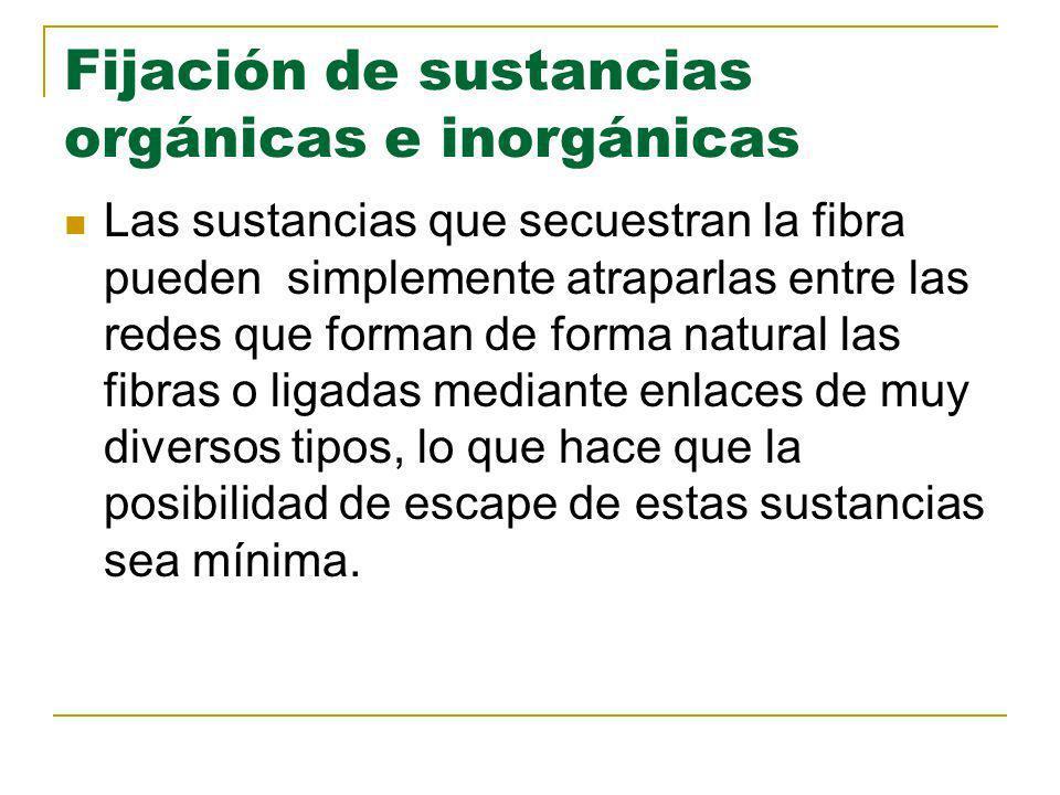 Fijación de sustancias orgánicas e inorgánicas