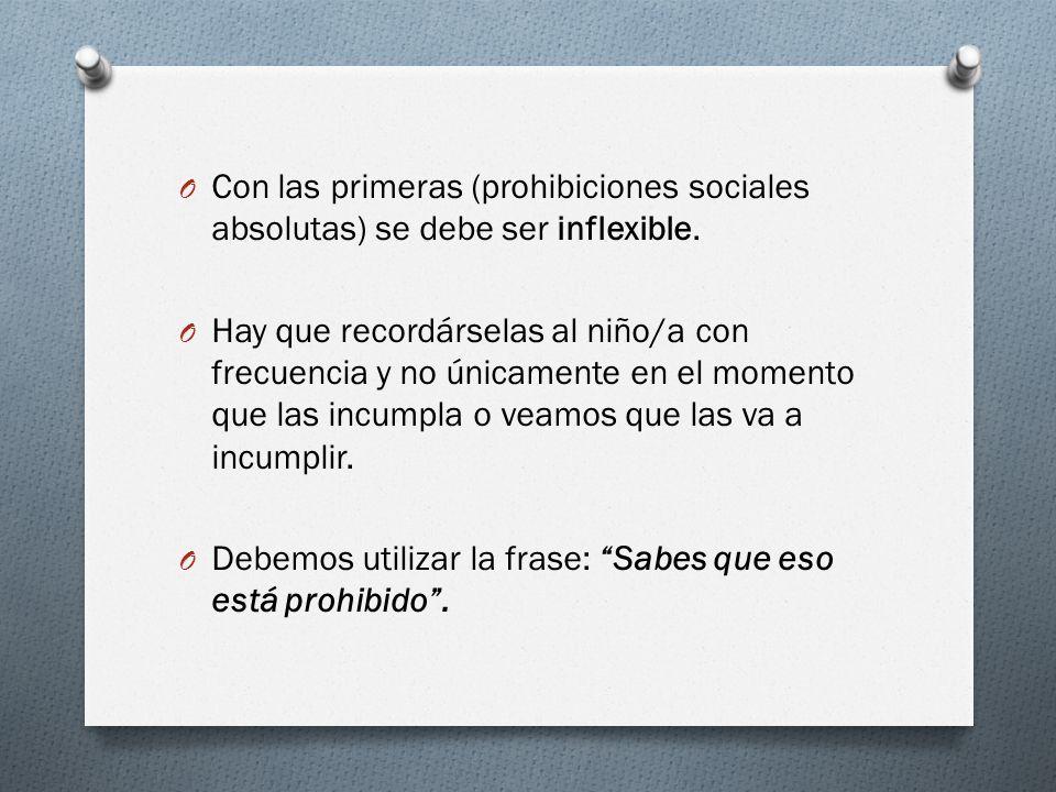Con las primeras (prohibiciones sociales absolutas) se debe ser inflexible.