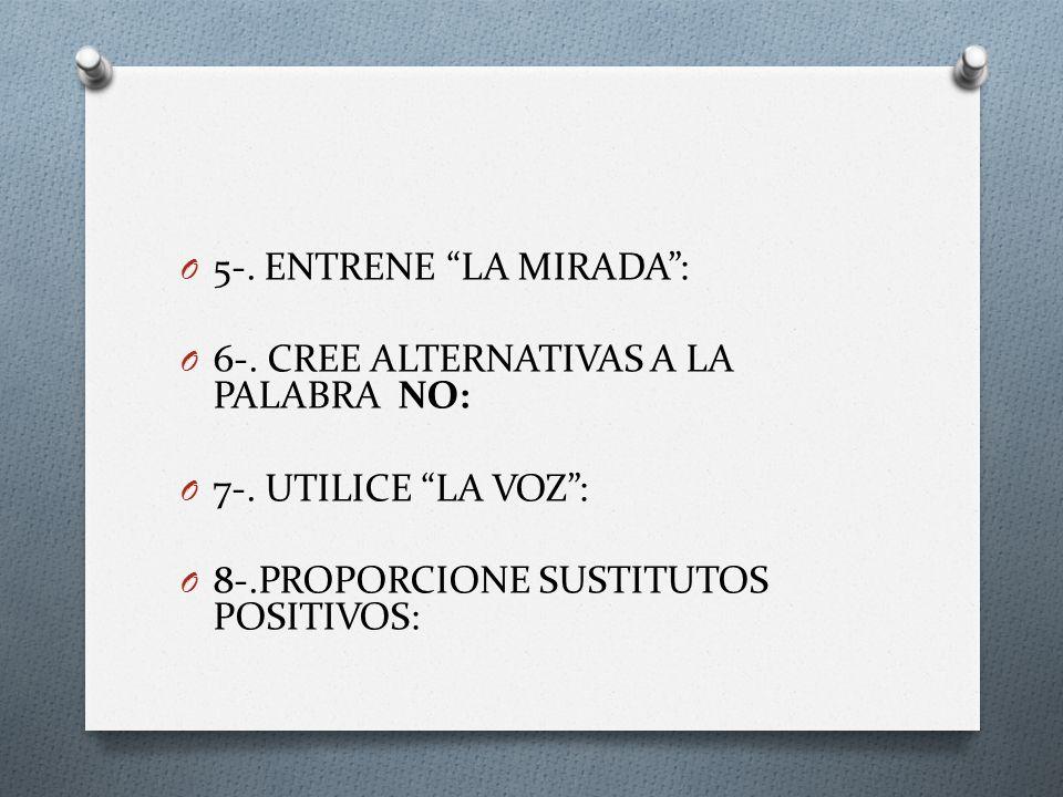5-. ENTRENE LA MIRADA : 6-. CREE ALTERNATIVAS A LA PALABRA NO: 7-.