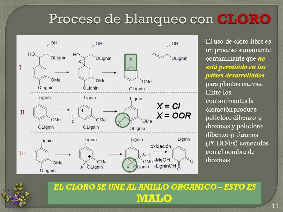 Proceso de blanqueo con CLORO