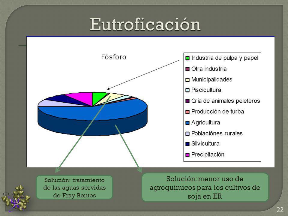 Eutroficación Solución: menor uso de agroquímicos para los cultivos de soja en ER.