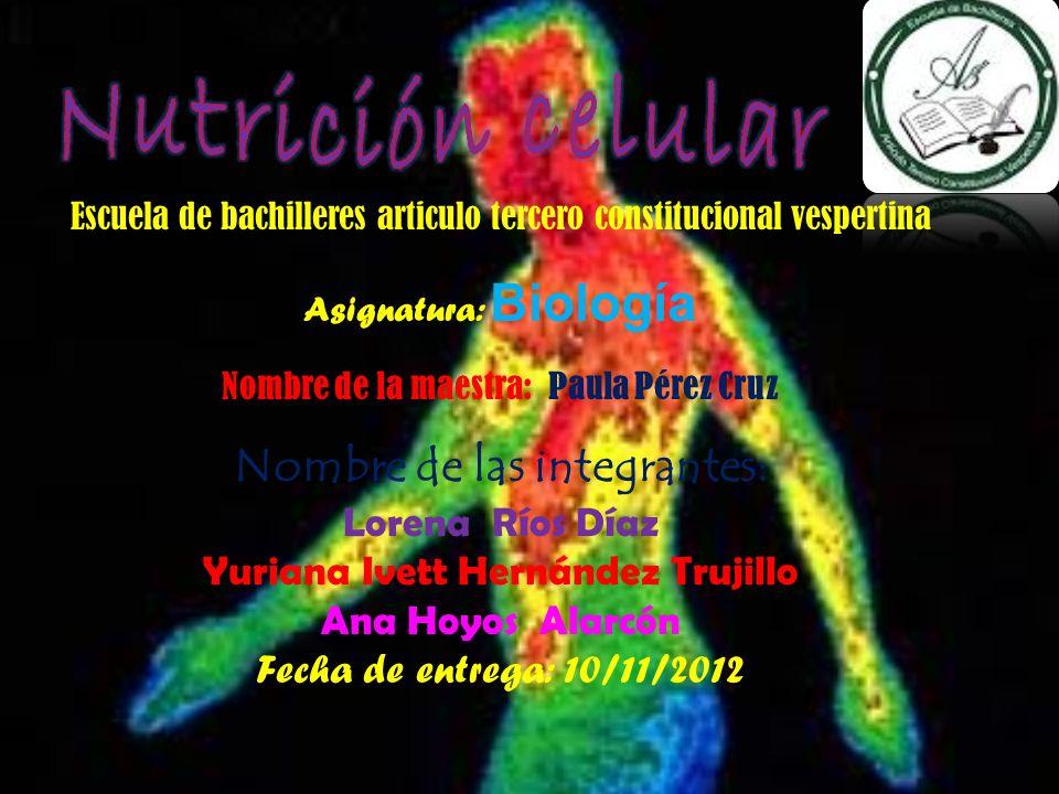 Nutrición celular Nombre de las integrantes: Lorena Ríos Díaz