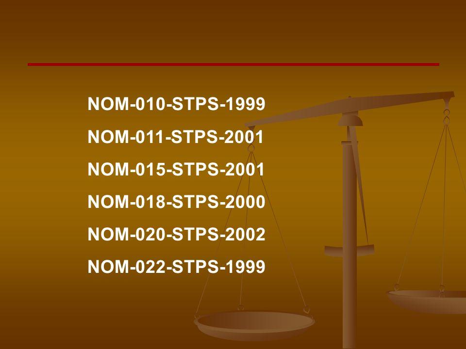 NOM-010-STPS-1999 NOM-011-STPS-2001. NOM-015-STPS-2001.
