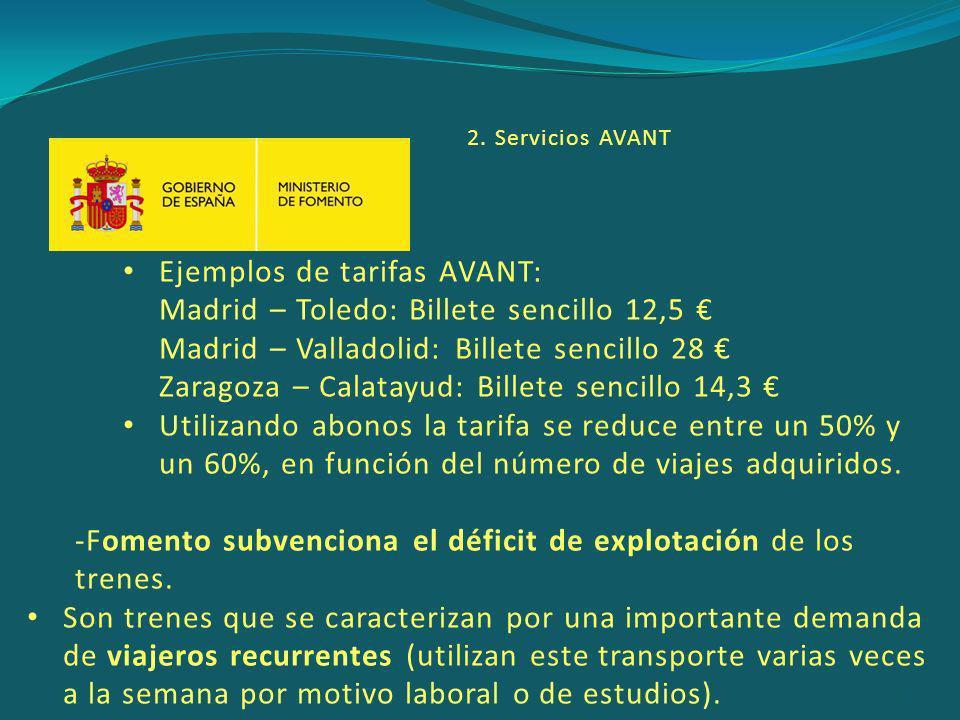 Ejemplos de tarifas AVANT: Madrid – Toledo: Billete sencillo 12,5 €