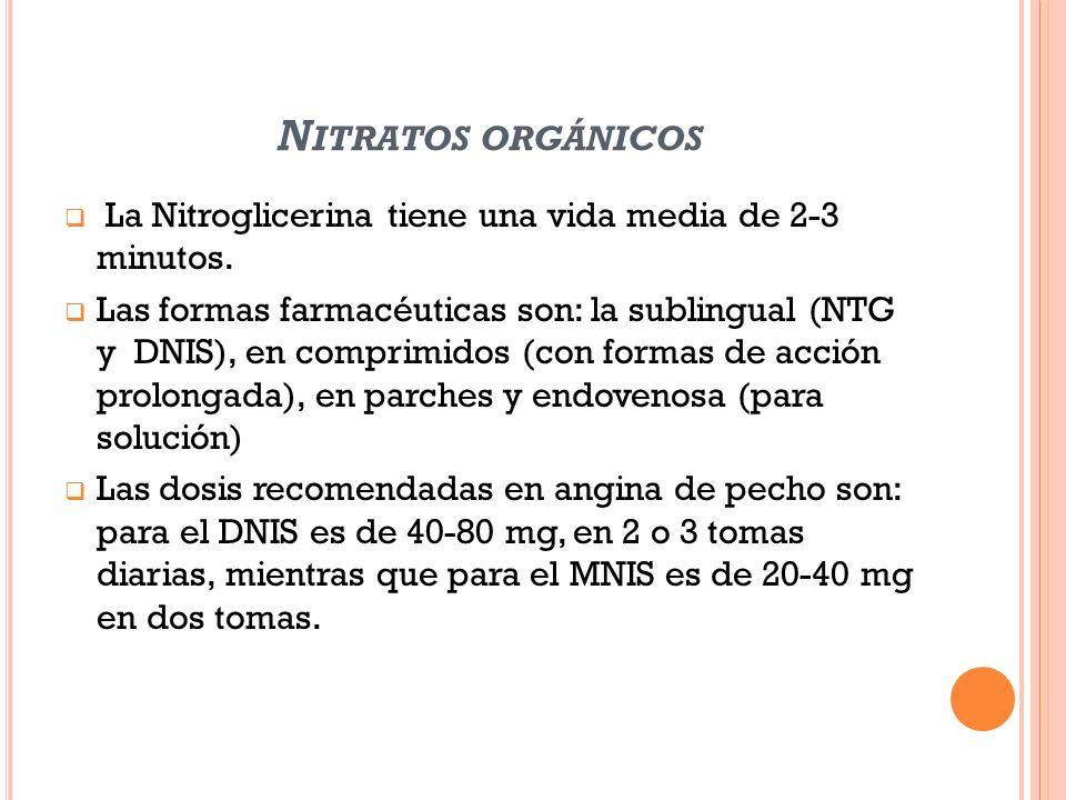 Nitratos orgánicos La Nitroglicerina tiene una vida media de 2-3 minutos.