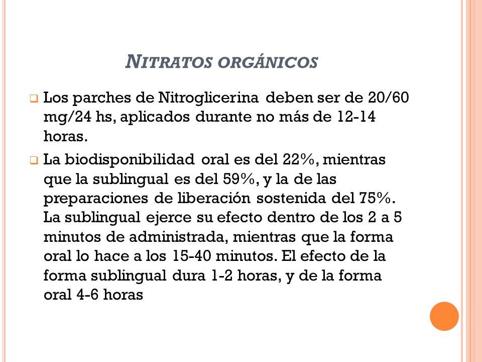 Nitratos orgánicos Los parches de Nitroglicerina deben ser de 20/60 mg/24 hs, aplicados durante no más de 12-14 horas.