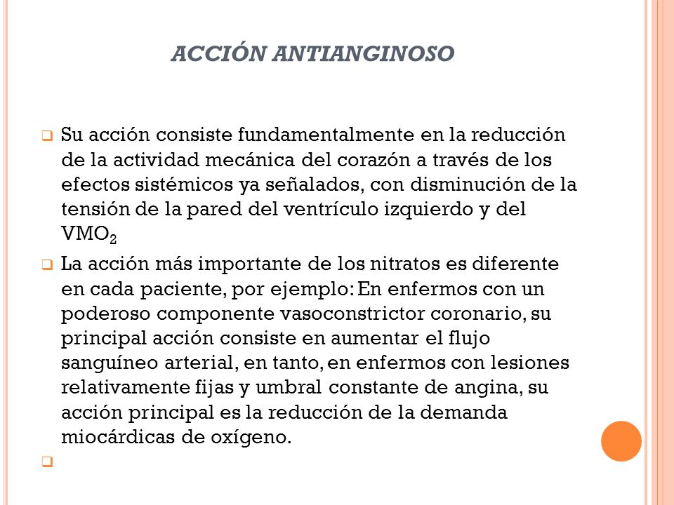 acción antianginoso