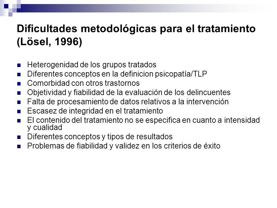Dificultades metodológicas para el tratamiento (Lösel, 1996)