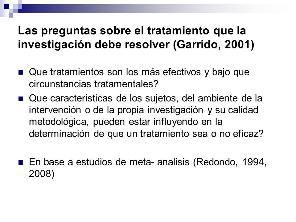 Las preguntas sobre el tratamiento que la investigación debe resolver (Garrido, 2001)