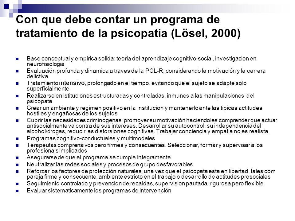 Con que debe contar un programa de tratamiento de la psicopatia (Lösel, 2000)
