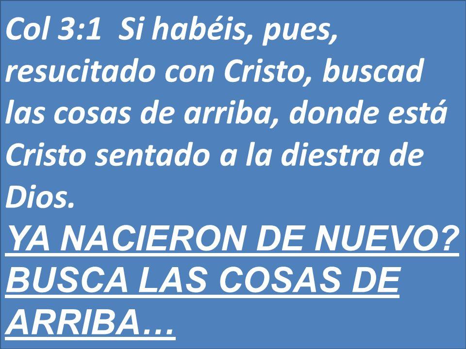 Col 3:1 Si habéis, pues, resucitado con Cristo, buscad las cosas de arriba, donde está Cristo sentado a la diestra de Dios.