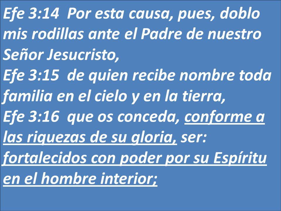 Efe 3:14 Por esta causa, pues, doblo mis rodillas ante el Padre de nuestro Señor Jesucristo,