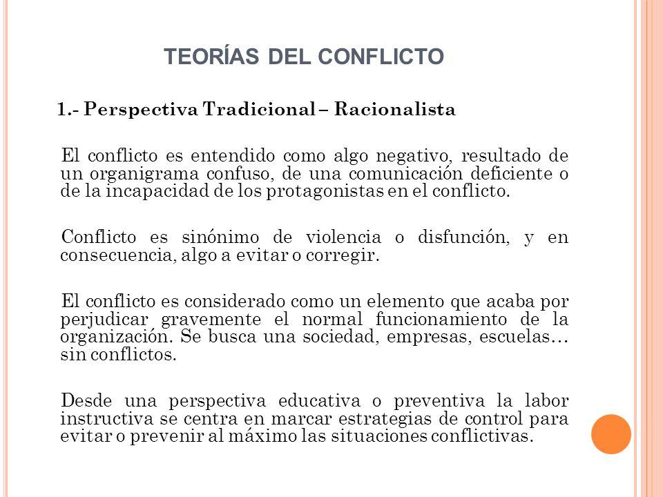 TEORÍAS DEL CONFLICTO 1.- Perspectiva Tradicional – Racionalista