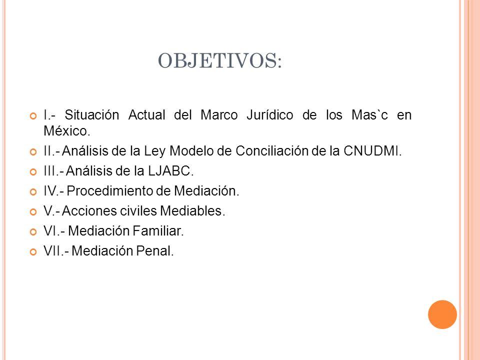 OBJETIVOS: I.- Situación Actual del Marco Jurídico de los Mas`c en México. II.- Análisis de la Ley Modelo de Conciliación de la CNUDMI.