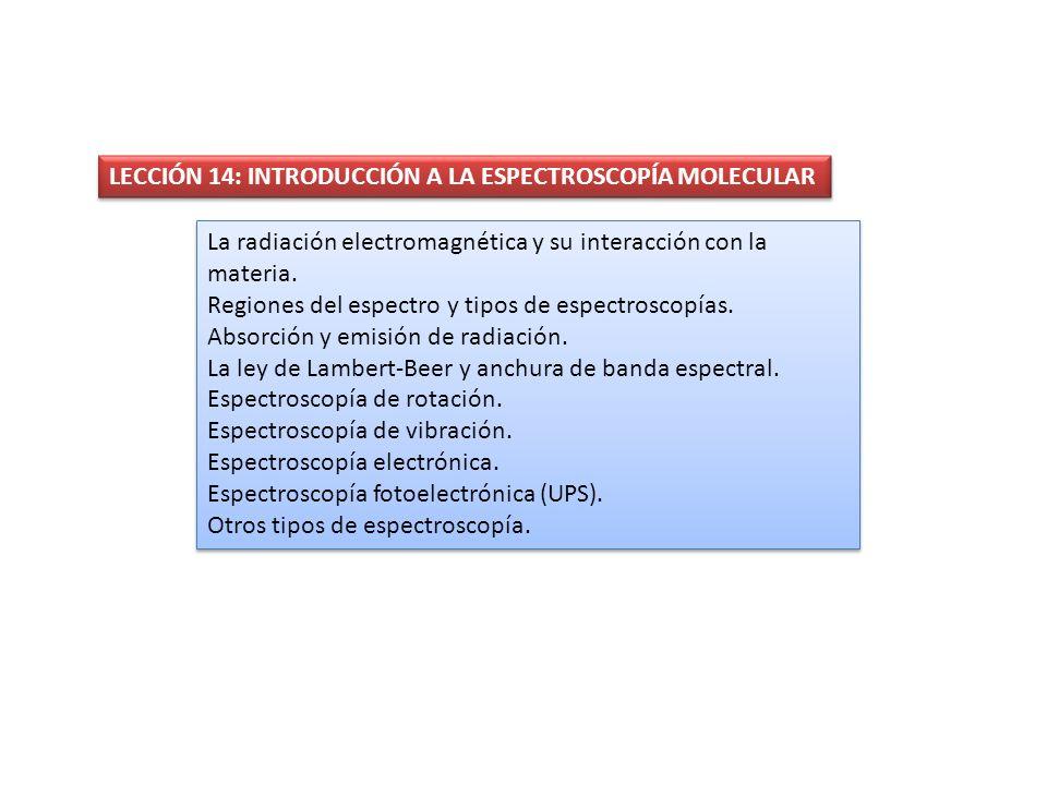 LECCIÓN 14: INTRODUCCIÓN A LA ESPECTROSCOPÍA MOLECULAR