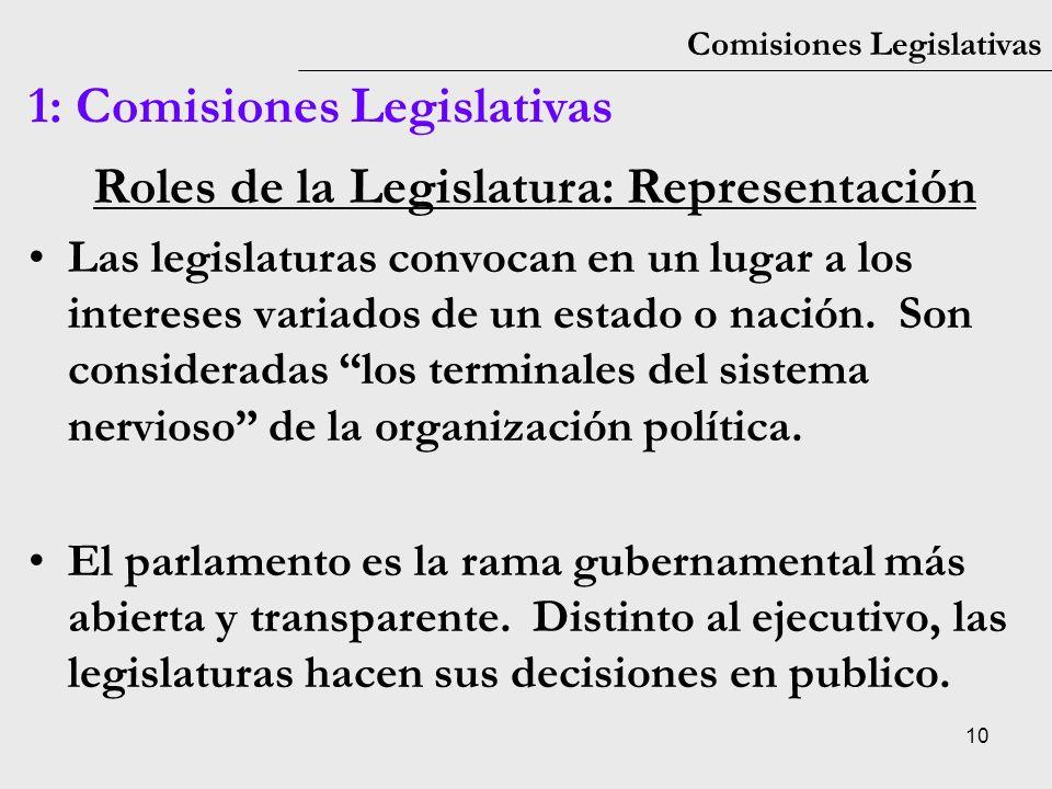 Roles de la Legislatura: Representación