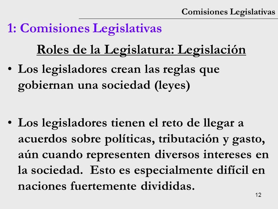 Roles de la Legislatura: Legislación