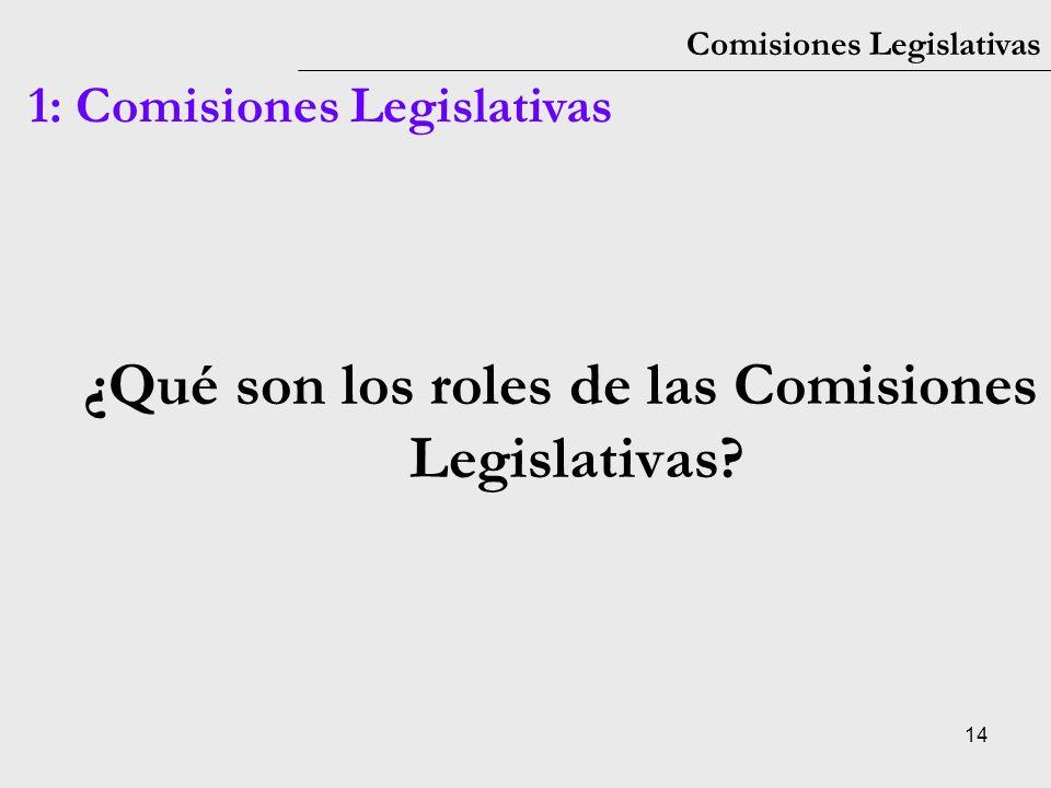 ¿Qué son los roles de las Comisiones Legislativas