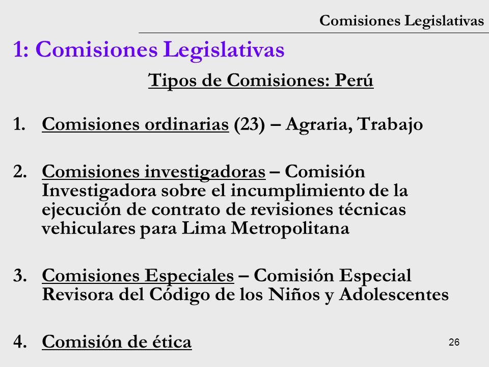 Tipos de Comisiones: Perú
