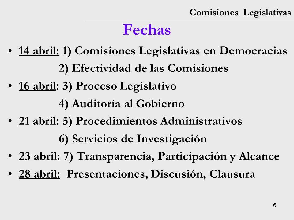 Fechas 14 abril: 1) Comisiones Legislativas en Democracias