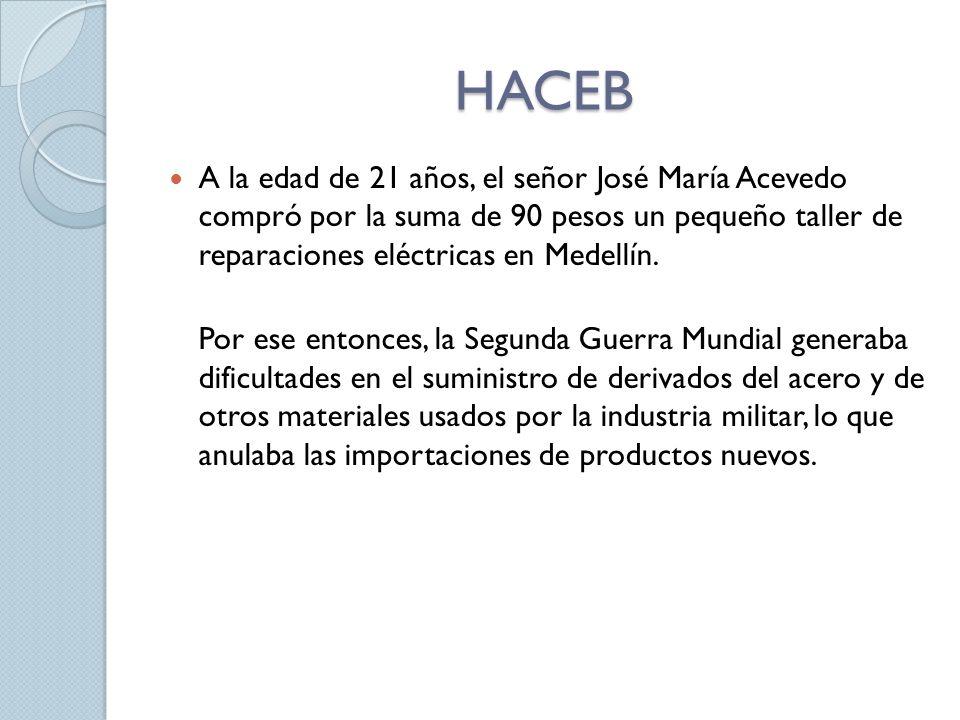 HACEB A la edad de 21 años, el señor José María Acevedo compró por la suma de 90 pesos un pequeño taller de reparaciones eléctricas en Medellín.