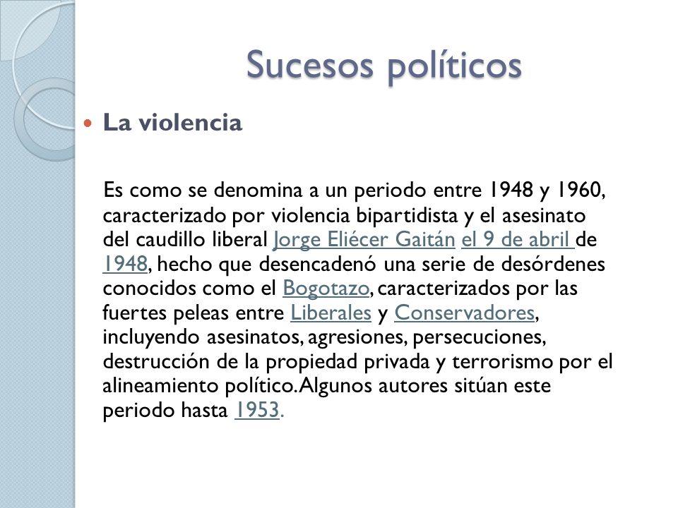 Sucesos políticos La violencia