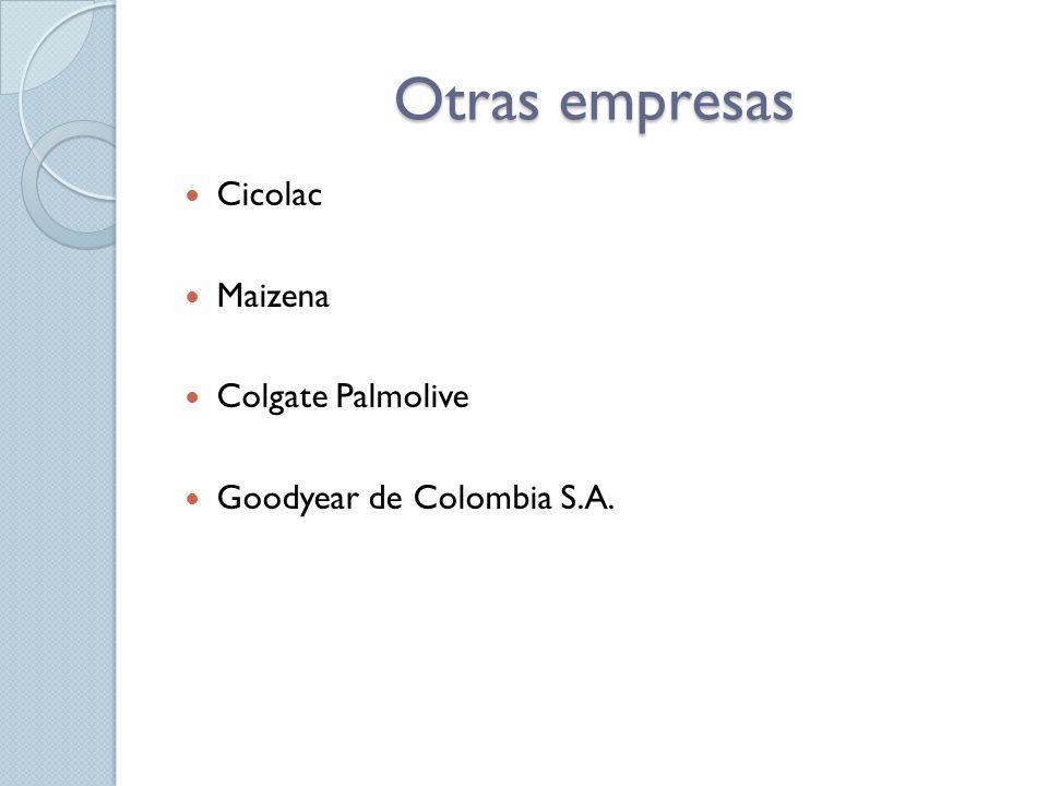 Otras empresas Cicolac Maizena Colgate Palmolive