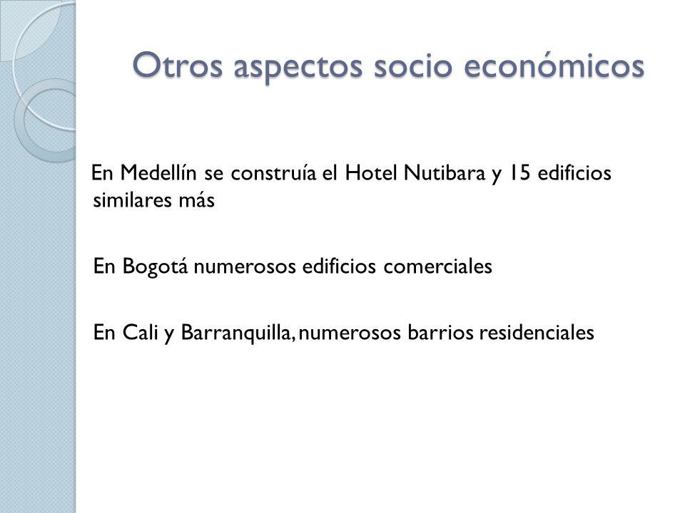 Otros aspectos socio económicos