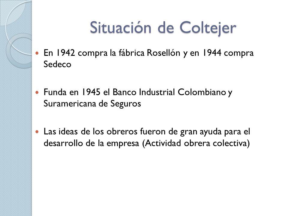 Situación de Coltejer En 1942 compra la fábrica Rosellón y en 1944 compra Sedeco.