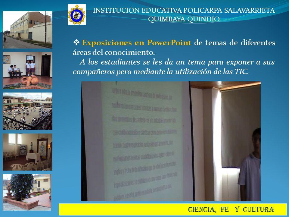 Exposiciones en PowerPoint de temas de diferentes áreas del conocimiento.