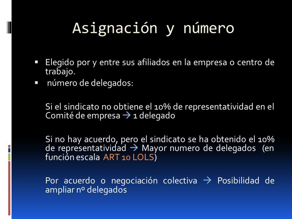 Asignación y número Elegido por y entre sus afiliados en la empresa o centro de trabajo. número de delegados: